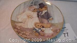 gold trimmed Just Married Limited Edition Heirloom Collection plate