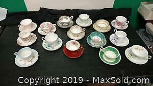 15 Assorted Cups and Saucers, Aynsley, Royal Albert and More