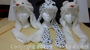 3 kid's animal hats with attached scarf/hand pockets