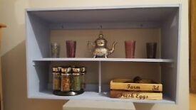 Wall mounted shelves in Annie Sloan Louis Blue
