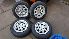 """4 minilite alloy wheels with tyres (12"""")"""