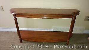 Glass Top Wood Sofa Table