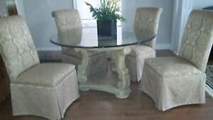 Stunning Dining Table and Custom Parson Chairs