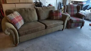 Beautiful plaid couch and wingback chair set