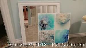 Framed Bevelled Mirror and Glass Plaqued Print