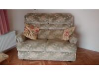 Two seater recliner sofa and two recliner chairs