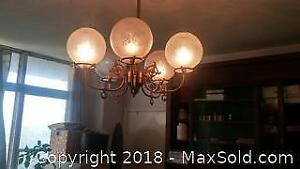 5 globe etched glass / brass chandelier - C