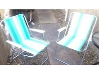 folding garden/deck/camping chairs pair