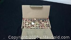 Bankers Box of rolled Pennies. US and Canadian.