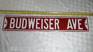 Heavy Gauge Budweiser Ave Street Sign