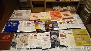 Collector coin magazines and books. Coin world, tokens