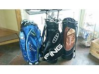 ***THREE GOLF BAGS ONE PING WITH PING CLUBS INCLUDED, ONE BRAND NEW BAG, TWO HIGH QUALITY 3 WOODS***