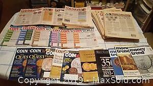 Coin world, money trend magazines and papers
