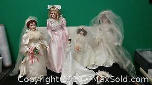 5 Vintage Porcelain Dolls In Wedding Dresses ...J
