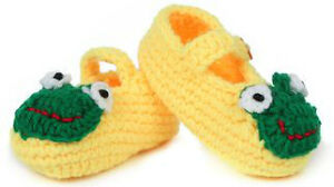 Hand Knit/Crocheted 0-12 month Yellow & Green Frog Baby Booties