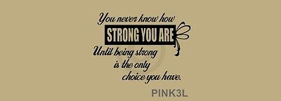Breast Cancer Decor (PINK3L Breast Cancer Never Know How Strong You Are Vinyl Wall Decal Art)
