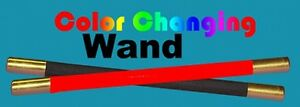 COLOR CHANGING WAND Metal Tip Kids Show Magic Trick Red Black Changes Magician
