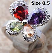 New- Multi-Gemstone Sterling Silver Butterfly Ring. Size 8.5