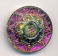 Gorgeous Czech Glass Button Purple & Green Shank Button