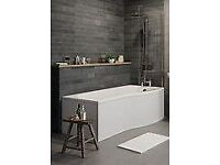 Brand new P shape bath with side panel, end panel & shower screen