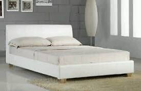 New White faux lesther bed frame superking 6'