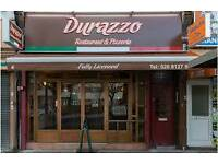 Experienced waitress and chef required at italian restaurant Durazzo pizzeria