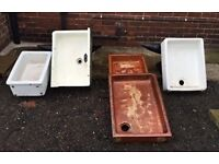 Sinks white Belfast and brown