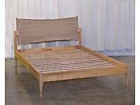 Habitat double bed frame. cream safari fabric head rest. see image from current habitat website