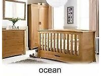 Mamas & Papas Solid Oak Ocean Furniture 5 pieces, Cot /bed, Wardrobe, Drawers, Changing Unit, Box