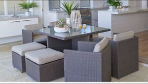 Wicker outdoor dining Setting  9pce space saver Mermaid Beach Gold Coast City Preview
