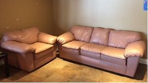Palliser couch and chair. Genuine leather from a smoke-free home