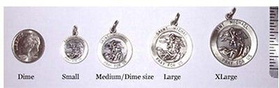 Medium 925 Sterling Silver Saint St. St Michael Dime Sz Police Pendant Charm
