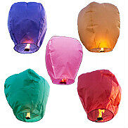 Color or white sky lanterns $0.85 each when you purchase 400 pcs