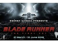 Secret Cinema - Blade Runner - 2 x Phoenix (Advanced) tickets for Saturday 12th May 2018