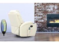 Recliner massage chair in cream ., Brand new