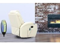 Cream soft leather massage recliner chair brand new