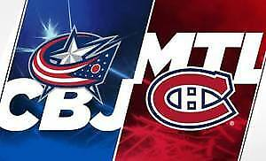 (2X2) BILLET TICKET CANADIENS COLUMBUS CENTER 302A 303A GRIS