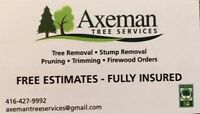 TREE REMOVAL, TRIM, PRUNE, STUMP GRINDING
