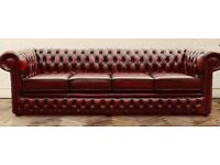Rare 4 seater leather chesterfield sofa