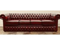 Rare 4 seater oxblood leather chesterfield sofa