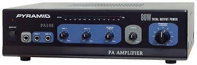 Pyramid PA105 80 Watt AC & DC 12 Volt PA Amplifier w/70V Output & Mic talkover