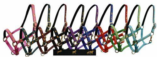 """Pony Size Nylon Neoprene Lined Halter w// /""""Running Horse/"""" Overlay"""