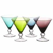 Colored Bombay Martini Glasses (5 in total)