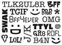 Darice A2 TEXTING ACRONYMS (BBF,TTYL,LOL,OMG)embossing folder-$8