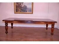 Large Reproduction Turned Leg Victorian Mahogany Extending/Extendable Dining Table + felt protector