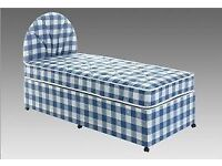 blue and white checked single 3ft divan bed with memory foam mattress can deliver