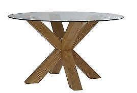 Solid Oak Circular table with safety glass