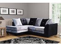 ❤️❤️Dylan Sofa Range Crushed Velvet Corner sofa, 3+2+1 (Silver, Choclate, Mink, Black)❤️❤️