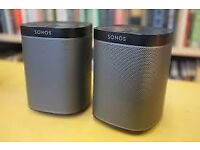 2 x Sonos Play 1 smart wireless speakers (black)