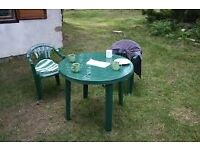 Wanted please 2 plastic garden chairs + A plastic garden table